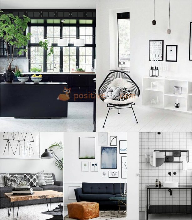 Interior Design Color Schemes. Interior design trends 2017-2018. Black and White Interior Design