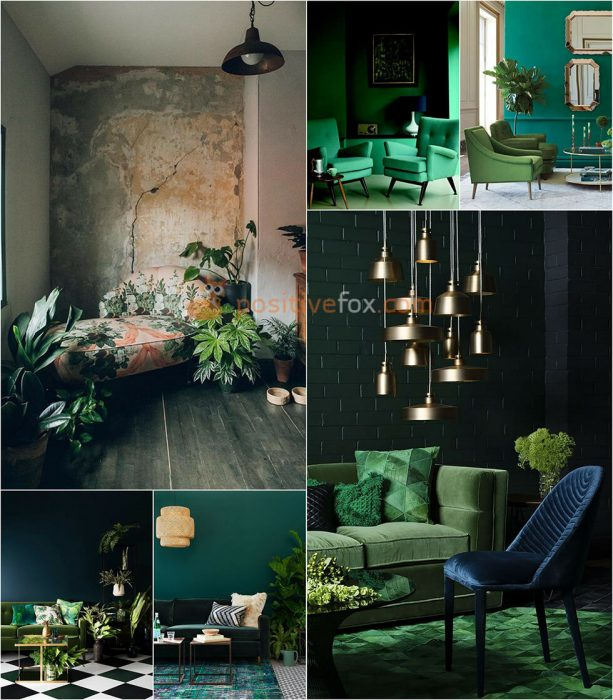 Interior Design Color Schemes. Interior design trends 2017-2018. Emerald Interior Design Ideas
