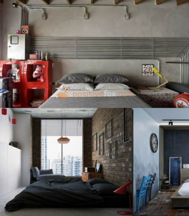 Loft Interior Design. Ideas for Small Bedroom Design.