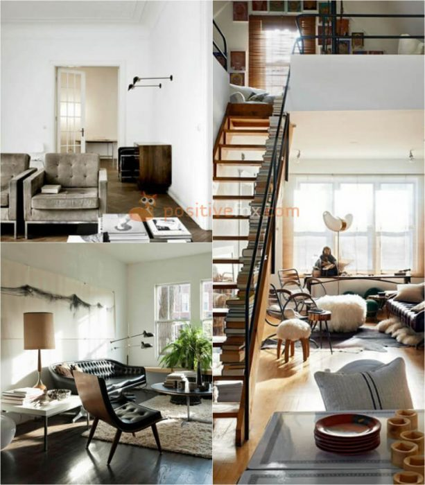 Loft Interior Design. Ideas for Small Living Room.