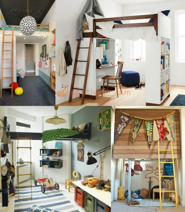 Loft Interior Design. Ideas for Small Kids Rooms.