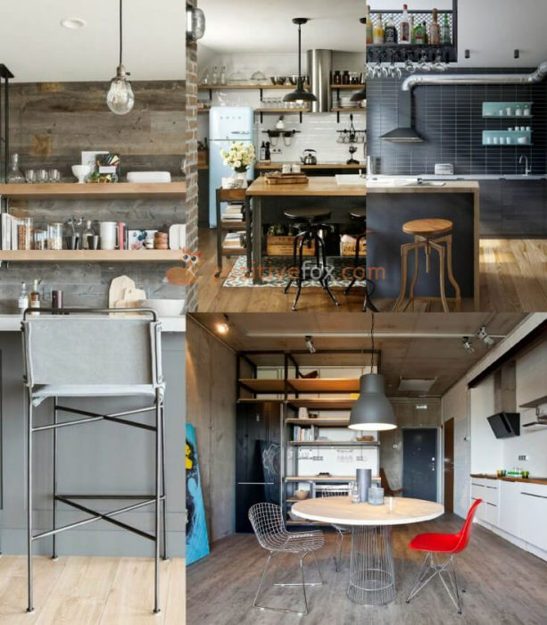 Loft Interior Design. Ideas for Small Kitchen.