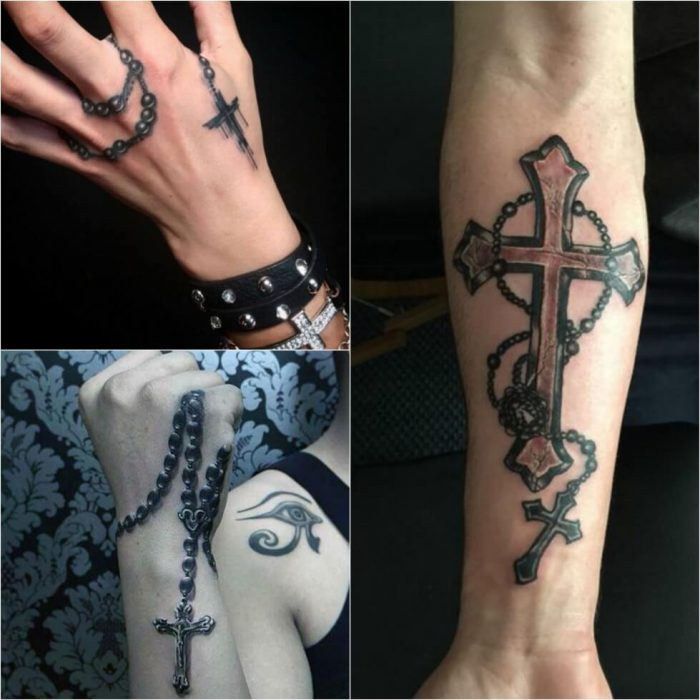 Cross Tattoos. Cross Tattoo Designs. Cross Tattoos with Rosary Beads