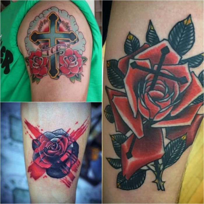 Cross Tattoos. Cross Tattoo Designs. Cross and Rose Tattoo