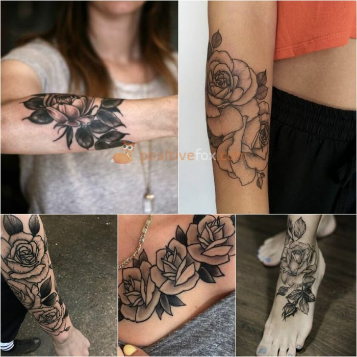 Rose Tattoos. Rose Tattoo Ideas. Rose Leaves Tattoo