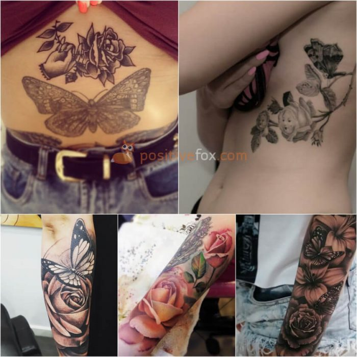 Rose Tattoos. Rose Tattoo Ideas. Rose and Butterfly Tattoo