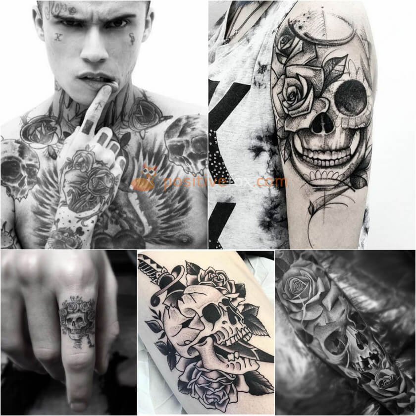 Rose Tattoos. Rose Tattoo Ideas. Rose and Skull Tattoo