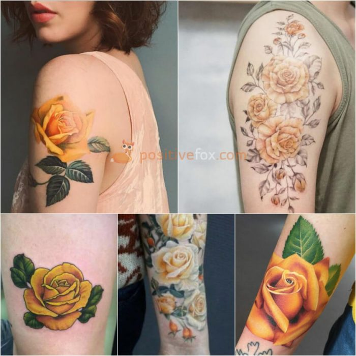 Rose Tattoos. Rose Tattoo Ideas. Yellow Rose Tattoo