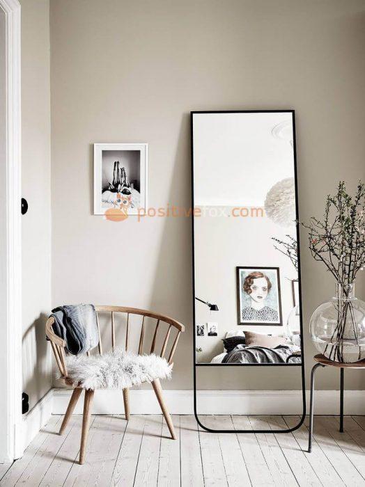 White Leather Full Length Mirror