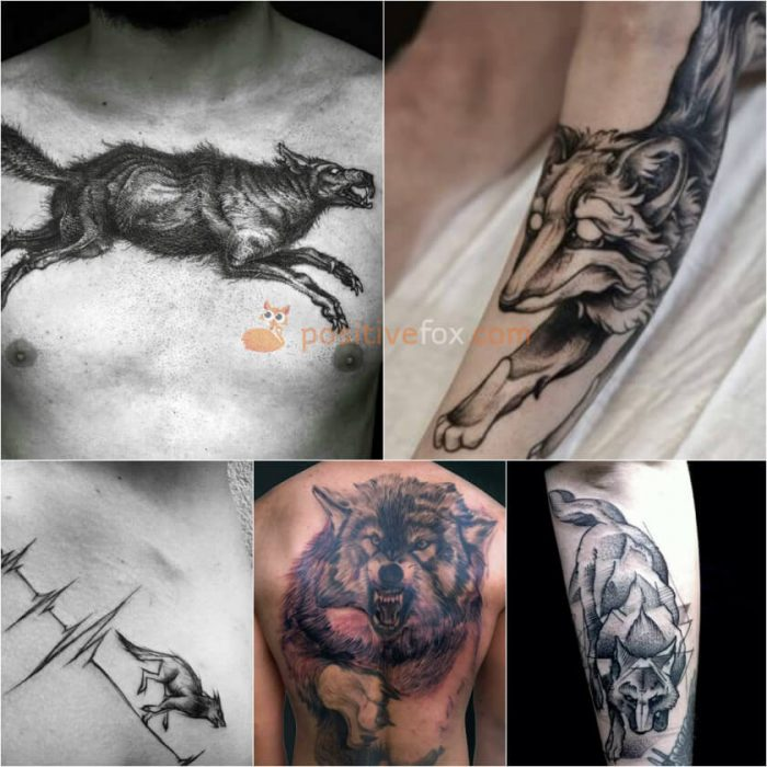 Wolf Tattoo. Wolf Tattoo Designs. Jumping Wolf Tattoo