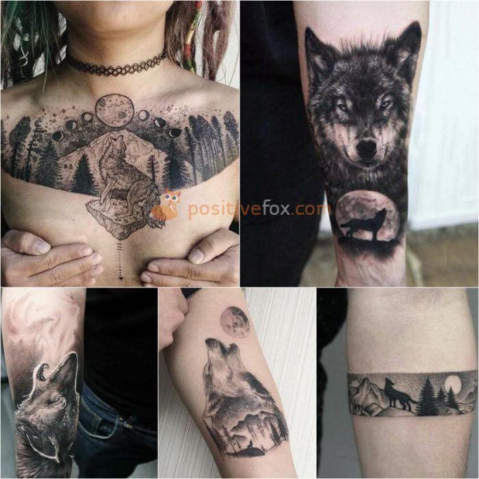 Wolf Tattoo. Wolf Tattoo Designs. Wolf Howling at the Moon Tattoo