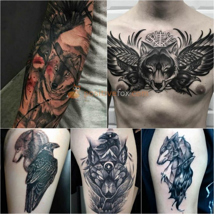 Wolf Tattoo. Wolf Tattoo Designs. Wolf and Crow Tattoo