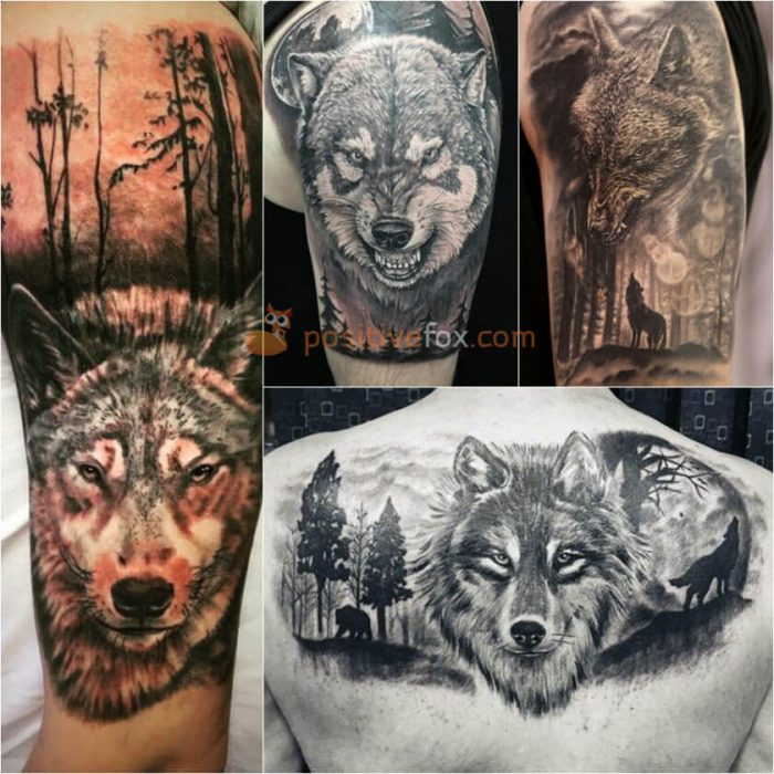 Wolf Tattoo. Wolf Tattoo Designs. Wolf in the Forest Tattoo