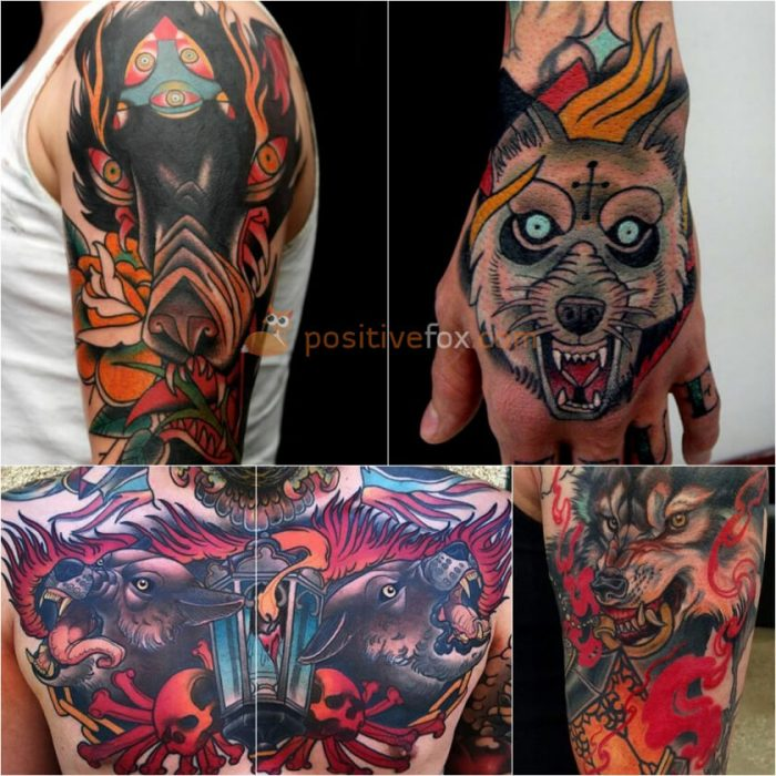 Wolf Tattoo. Wolf Tattoo Designs. Wolf with Red Eyes Tattoo