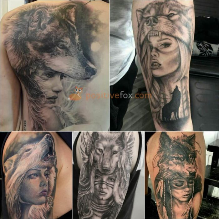 Wolf Tattoo. Wolf Tattoo Designs. Woman in Wolf Hide Tattoo