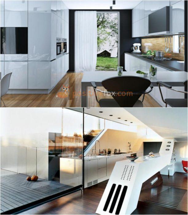 High tech White Kitchen. White Kitchen Ideas. Kitchen Interior Design