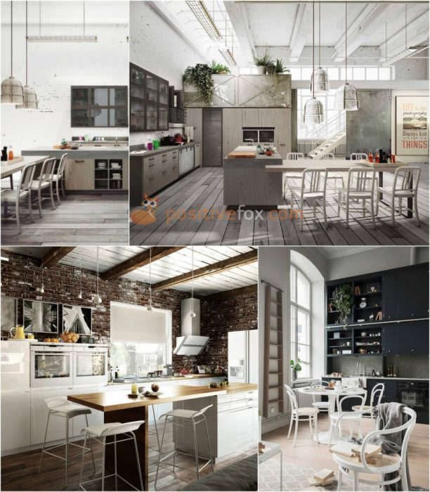 Loft White Kitchen. White Kitchen Ideas. Kitchen Interior Design