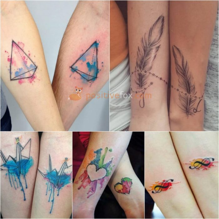 Couple Tattoos. Couple Tattoo Ideas - Watercolor Tattoo