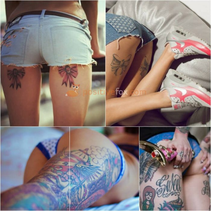 Thigh Tattoos. Thigh Tattoo Ideas. Back of Thigh Tattoo