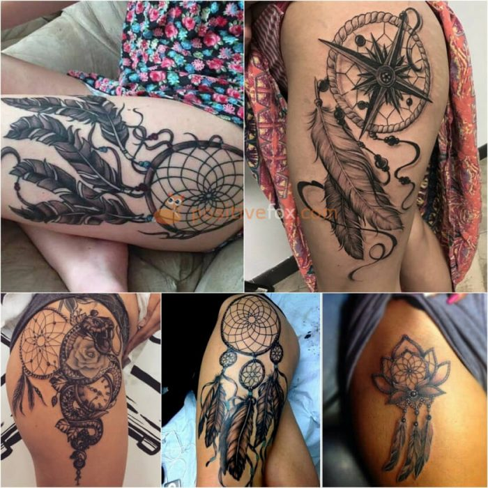 Thigh Tattoos. Thigh Tattoo Ideas. Dream Catcher Tattoo on Thigh