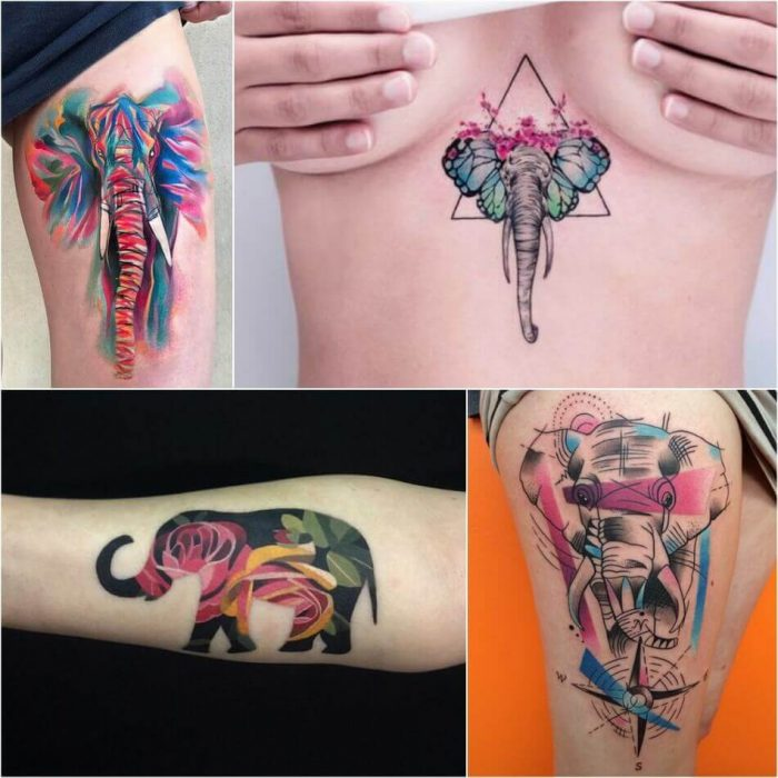 Abstract Elephant Tattoo - Elephant Tattoo Meaning - Elephant Tattoo Ideas