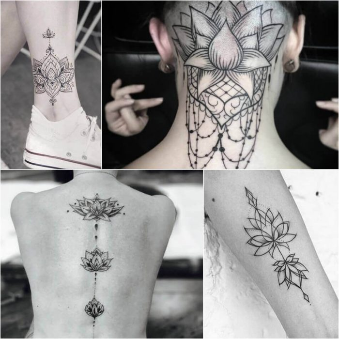 Black and White Lotus Tattoo - Lotus Tattoo Meaning - Lotus Tattoo Ideas - Lotus Tattoo Designs