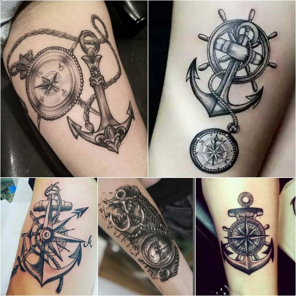 b2fbde8ba Compass and Anchor Tattoo - Compass Tattoo Meaning - Compass Tattoo Ideas