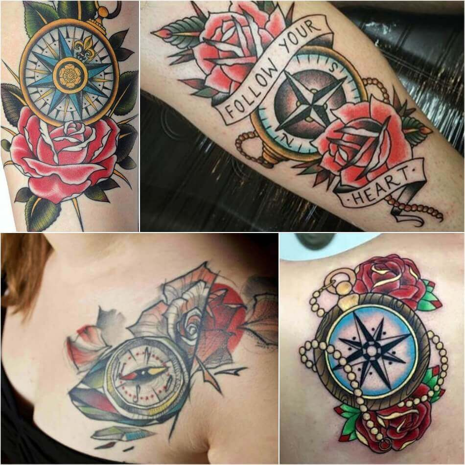 Compass and Rose Tattoo - Compass Tattoo Meaning - Compass Tattoo Ideas