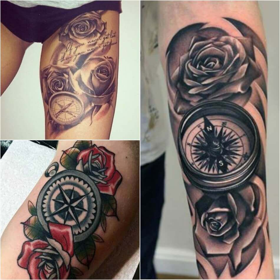 99ad6386efc86 ... Compass and Rose Tattoo - Compass Tattoo Meaning - Compass Tattoo Ideas  ...