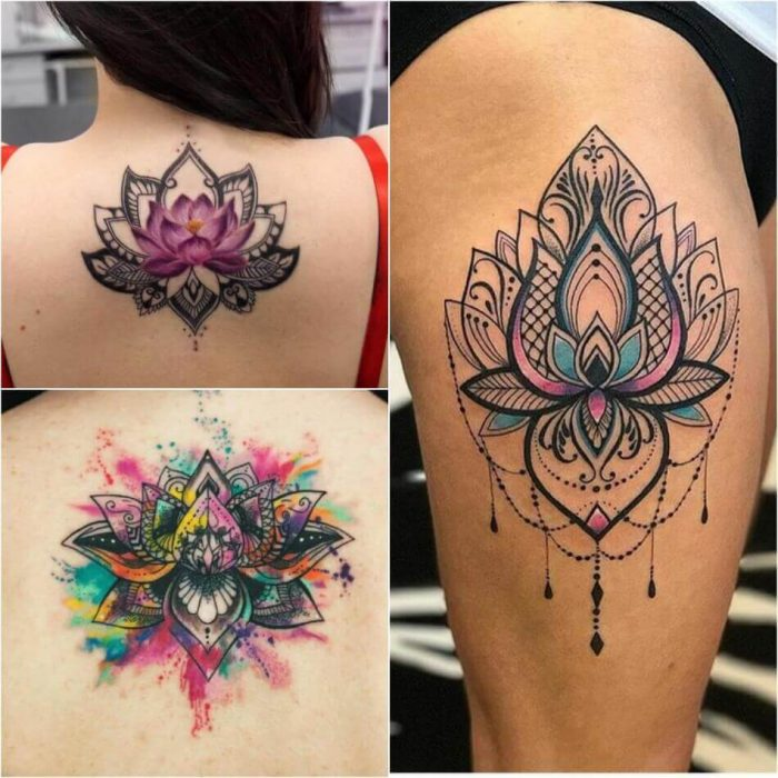 75 Best Mandala Tattoo Meanings Designs: Female Lotus Tattoos Designs With