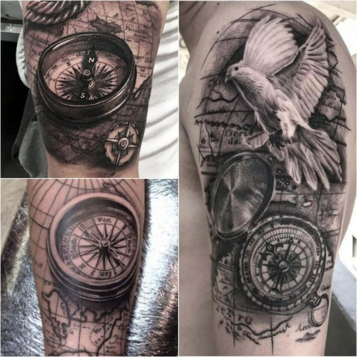Map and Compass Tattoo - Compass Tattoo Meaning - Compass Tattoo Ideas