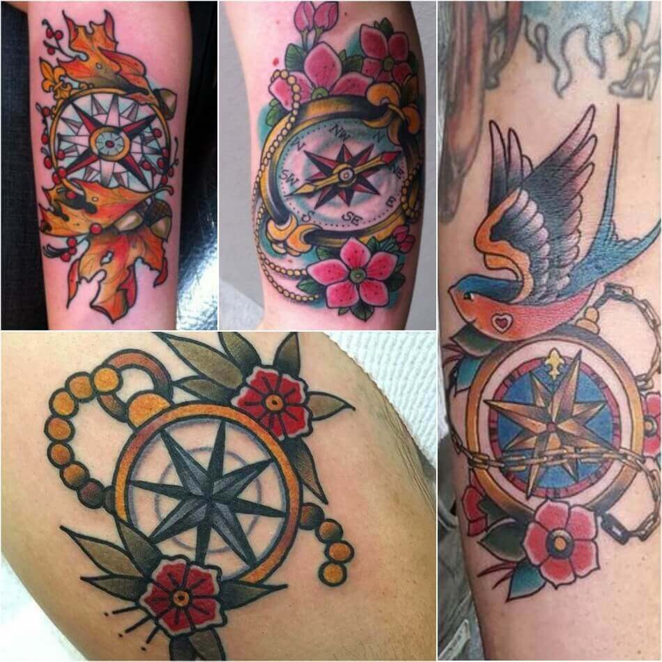 Old School Compass Tattoo - Compass Tattoo Meaning - Compass Tattoo Ideas