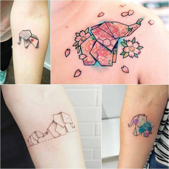 Origami Elephant Tattoo - Elephant Tattoo Meaning - Elephant Tattoo Ideas
