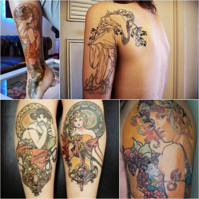 Alphonse Mucha Tattoo - Art Nouveau Tattoo - Mucha Painting Tattoo - Painting Tattoo Ideas - Painting Tattoo Designs