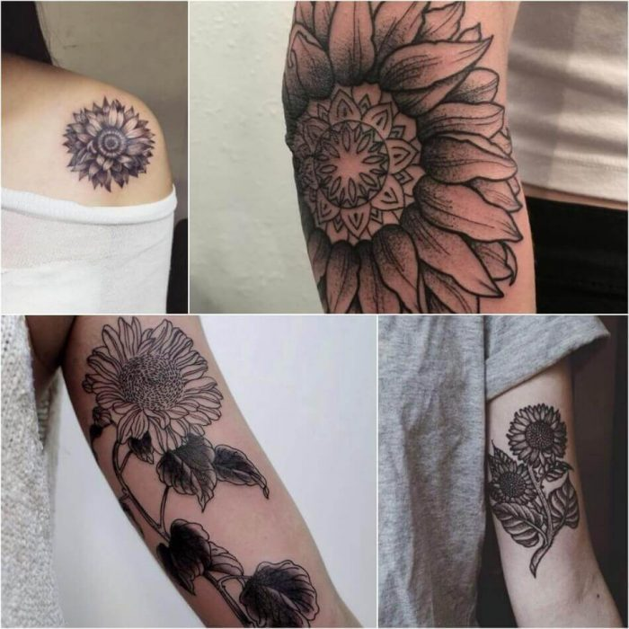Black and White Sunflower Tattoo - Sunflower Tattoo Ideas - Sunflower Tattoo Meaning - Sunflower Tattoo Designs
