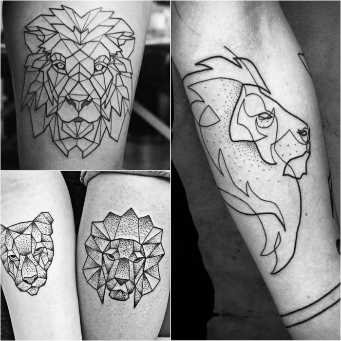 Geometric Lion Tattoo - Lion Tattoo Meaning - Lion Tattoo Ideas - Lion Tattoo Designs