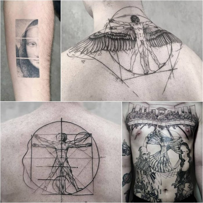 Leonardo Da Vinci Tattoo - Da Vinci Painting Tattoo - Tattoo of Painting - Painting Tattoo Ideas - Painting Tattoo Designs