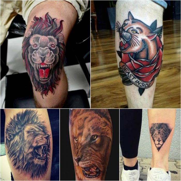 Lion Tattoo on Leg - Leg Lion Tattoo - Lion Tattoo Meaning - Lion Tattoo Ideas - Lion Tattoo Designs