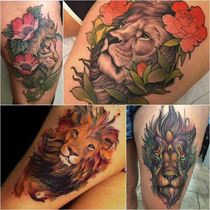 Lion Tattoo on Thigh - Thigh Lion Tattoo - Lion Tattoo Meaning - Lion Tattoo Ideas - Lion Tattoo Designs