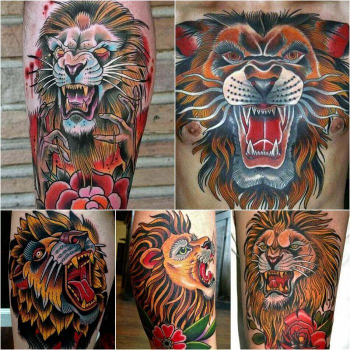 Old School Lion Tattoo - Lion Tattoo Meaning - Lion Tattoo Ideas - Lion Tattoo Designs