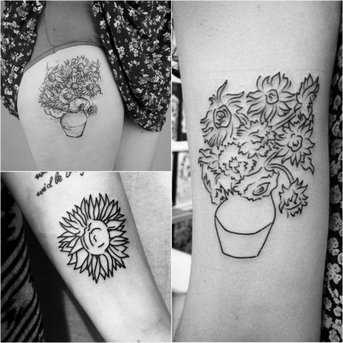 Sunflower Tattoo Van Gogh - Sunflower Tattoo Ideas - Sunflower Tattoo Meaning - Sunflower Tattoo Designs