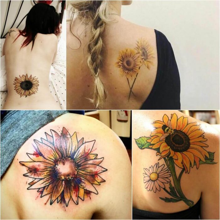 Sunflower Tattoo on Back - Sunflower Tattoo Ideas - Sunflower Tattoo Meaning - Sunflower Tattoo Designs