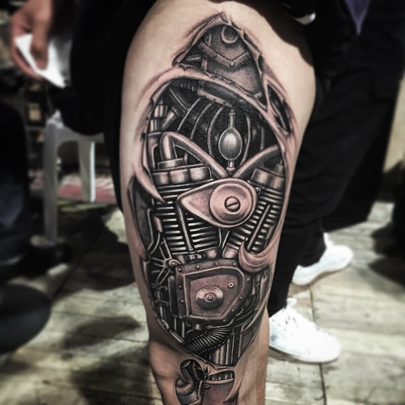 biomechanical tattoo leg - biomechanical tattoo - 3d biomechanical tattoos