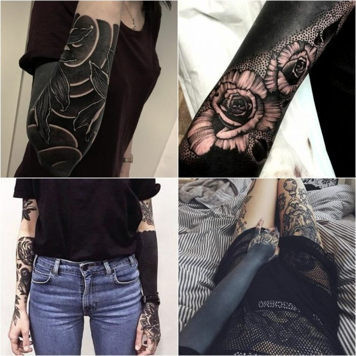 blackwork tattoos sleeve designs - blackwork tattoo - blackwork tattoo for women