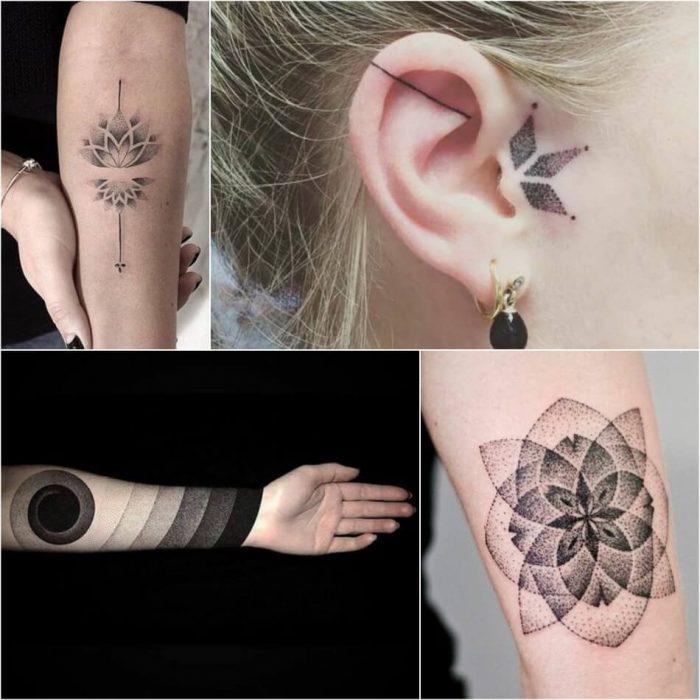 dotwork tattoo - dotwork geometric tattoo - dotwork tattoo ideas