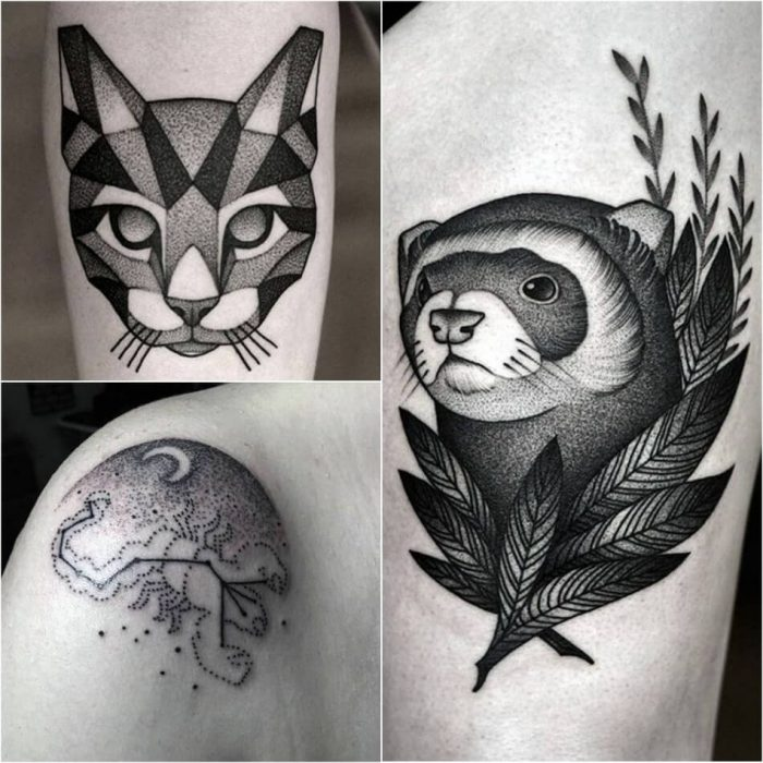 dotwork tattoo - dotwork tattoo ideas - dotwork tattoo animals