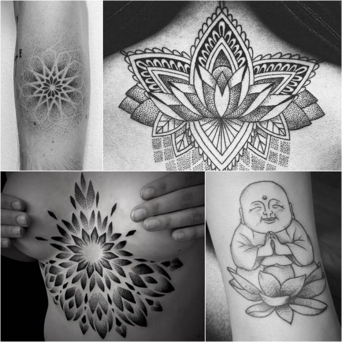 dotwork tattoo - dotwork tattoo mandala - dotwork tattoo lotus