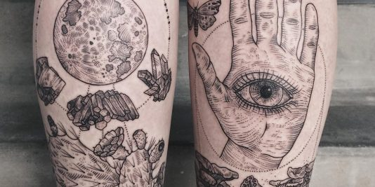 etching tattoo - woodcut tattoo - skin engraving tattoos