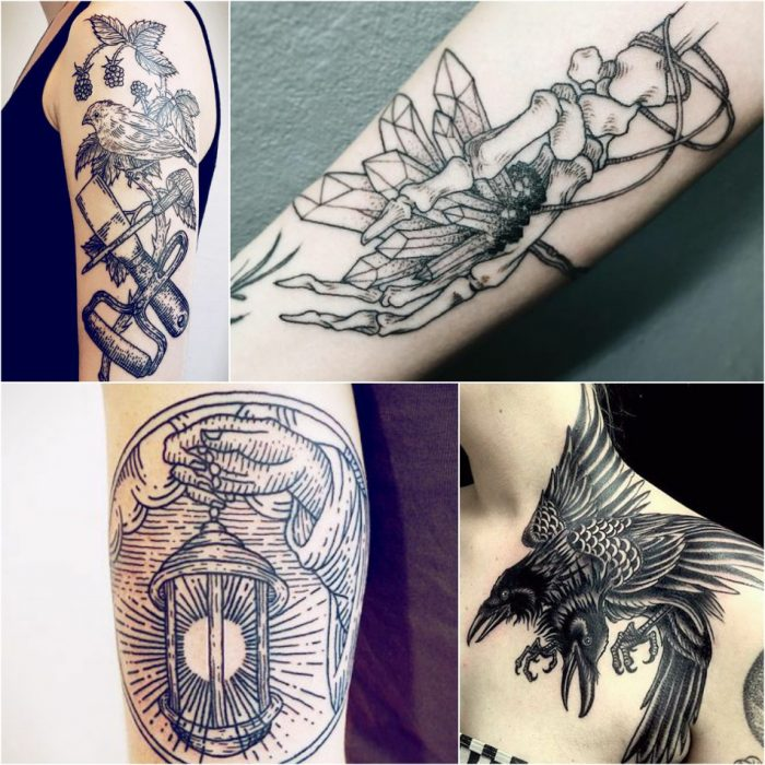 linework tattoo - etching tattoo - woodcut tattoo