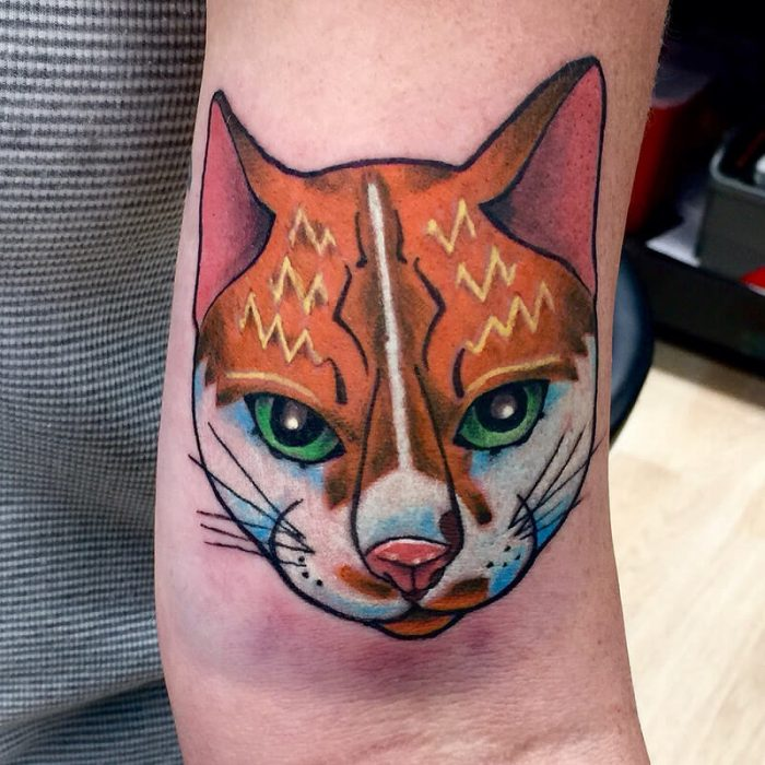 new school tattoo - new school tattoo ideas - new school cat tattoo